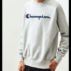 Champion Reverse Weave Crew Sweatshirt In Grey